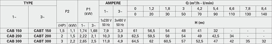 Các thông số máy bơm biến tần Pentax CABT 200 + EPIC