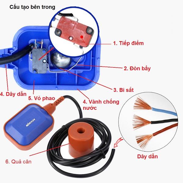 cấu tạo phao điện máy bơm nước