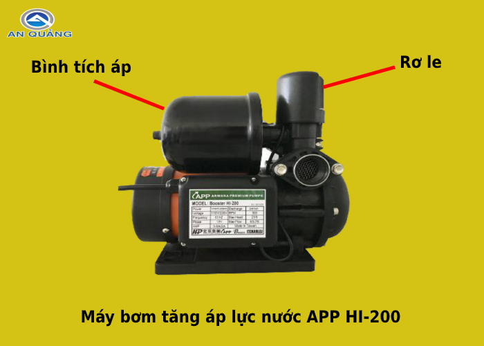 Cấu tạo máy bơm tăng áp lực nước APP HI-200